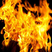 Flames of a fire in the dark — Stock Photo