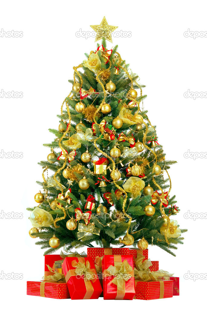Christmas fir tree with colorful lights and decorations.  — Stock Photo #1459469