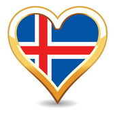 Heart Iceland Flag — Stock Vector