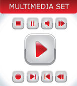 Red multimedia set — Stock Vector