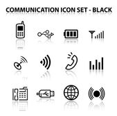 Reflect Communication Icon Set (Black) — Stock Vector