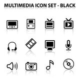 Reflect Multimedia Icon Set (Black) — Stock Vector