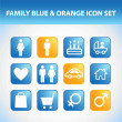 Family Icon Set (Blue & Orange) — Stock Vector