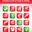 Stock Vector: Finance Icon Set (Red & Green)