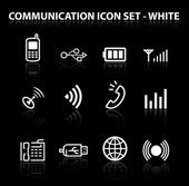 Reflect Communication Icon Set (White) — Stock Vector
