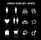 Reflect Family Icon Set (White) — Stock Vector