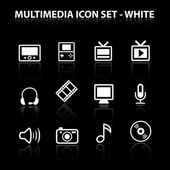 Reflect Multimedia Icon Set (White) — Stock Vector