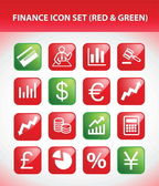 Finance Icon Set (Red & Green) — Stock Vector