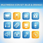 Multimedia Icon Set (Blue & Orange) — Stock Vector