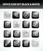 Office Icon Set (Black & White) — Stock Vector