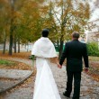 Autumn wedding trip — Stock Photo