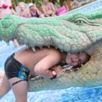 Boy and crocodile — Stock Photo