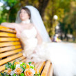 Royalty-Free Stock Photo: Bouquet on the bench