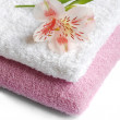 Towel with flower — Stock Photo