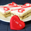 Cakes with a heart — Stock Photo