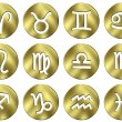 Stock Photo: 3D Golden Zodiac Signs