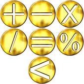 3D Golden Math Symbols — Stock Photo