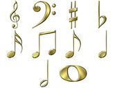 3D Golden Music Notes — Stock Photo