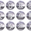Stock Photo: 3D Silver Zodiac Signs