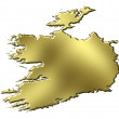 Ireland 3d Golden Map — 图库照片