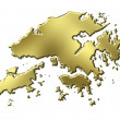 Royalty-Free Stock Photo: Hong Kong 3d Golden Map