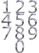 3D Silver Numbers — Stock Photo