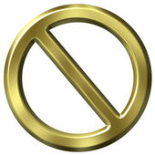 Golden forbidden sign — Stock Photo