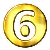 3D Golden Framed Number 6 — Stock Photo