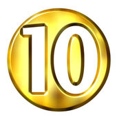 3D Golden Framed Number 10 — Stock Photo