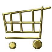 Golden Shopping Cart — Stock Photo