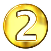 3D Golden Framed Number 2 — Stock Photo