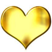 3D Golden Heart — Stock Photo