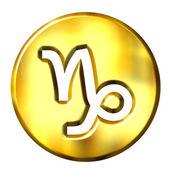 3D Golden Capricorn Zodiac Sign — Stock Photo