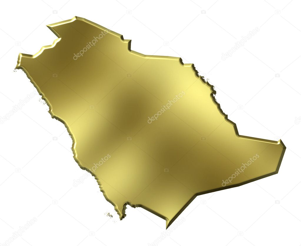 Saudi Arabia Map 3d Saudi Arabia 3d Golden Map