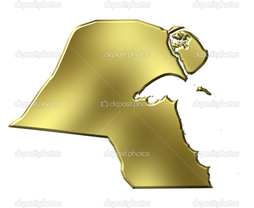Kuwait Map Vector Kuwait 3d Golden Map Isolated