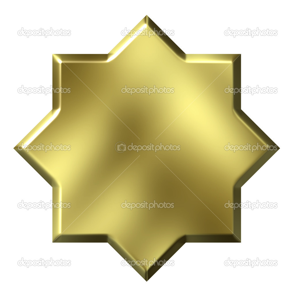 3d golden 8 point star isolated in white — Stock Photo #1222249