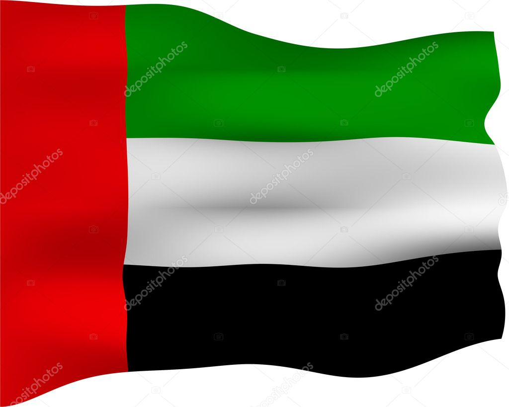 3d flag of Unites Arab Emirates isolated in white — Stock Photo #1223069