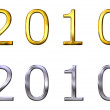 Year 2010 3D Golden and Silver — Foto Stock