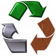 Recycling symbol with three elements - Stock Photo