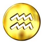 3D Golden Aquarius Zodiac Sign — Stock Photo #1394690