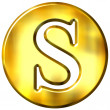 3D Golden Letter S - Stock Photo