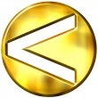 3D Golden Strict Inequality Symbol — Stok fotoğraf
