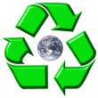 Stock Photo: Recycling symbol surrounding earth
