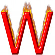 3D Letter W on Fire — Stockfoto