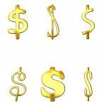 Eccentric Golden Dollar Symbols — Stock Photo #1395206