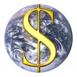 Dollar over earth — Stock Photo