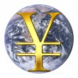 Yen over earth — Stock Photo