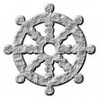 Stockfoto: 3D Stone Buddhism Symbol Wheel of Dharma