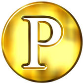 3D Golden Letter P — Stock Photo