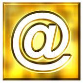 3D Golden Framed Email Symbol — Stock Photo